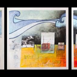 Acrylique, poska et collages sur toile