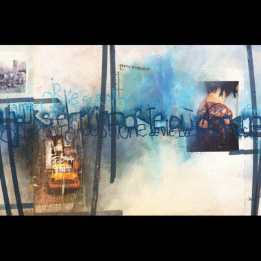 Acrylique, poska et collages sur carton