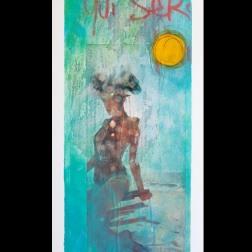 Acrylique, pastel gras et collages sur carton plume