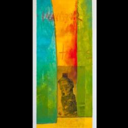 Acrylique et collages sur carton plume