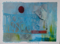 """Forget me not"" 20x30 cm Collage, acrylique, poska sur carton plume 30 euros"