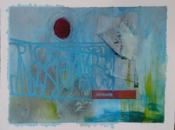 """""""Forget me not"""" 20x30 cm Collage, acrylique, poska sur carton plume 30 euros"""