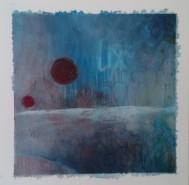 """""""From the moon"""" 20x20 cm Collage, acrylique, poska sur carton plume 25 euros"""