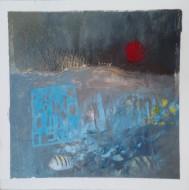 """""""L'estuaire"""" 25x25 cm Collage, acrylique, poska sur carton plume 30 euros"""