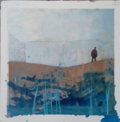 """""""The man in the desert"""" 25x25 cm Collage, acrylique, poska sur carton plume 35 euros"""