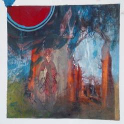 """""""The forest"""" 25x25 cm Collage, acrylique, poska sur carton plume 35 euros"""