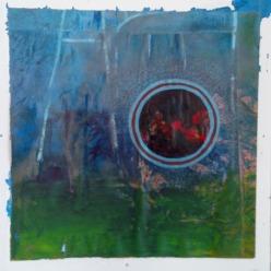 """Night light"" 25x25 cm Collage, acrylique, poska sur carton plume 35 euros"