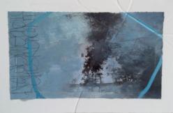 """Nuage 2"" 12x20 cm Collage, acrylique, poska sur carton plume 12 euros"