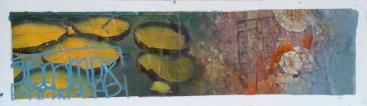 """""""Les nénuphars"""" 50x15 cm Collage, acrylique, poska sur carton plume 45 euros"""
