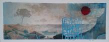 """""""Désert à l'horizon(tale)"""" 20x50 cm Collage, acrylique, poska sur carton plume 40 euros"""