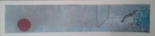 """Le Bond"" 12x50 cm Collage, acrylique, poska sur carton plume 40 euros"